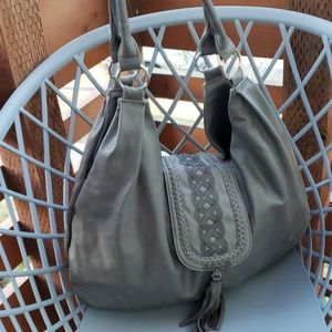 Gray Slouchy Bag with Tassel Closure